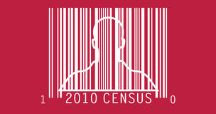 2010 Census. Illustration of bar code graphic with the silhouette of a man, for the 2010 Census Stock Image