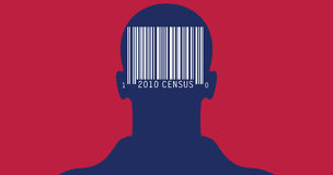 2010 Census. Illustration with bar coded silhouette of man for the 2010 Census. Colors of the American flag Royalty Free Stock Photography