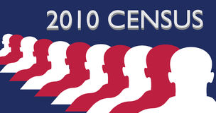 2010 Census. Illustration American flag colors with silhouettes of men, for the 2010 Census royalty free illustration