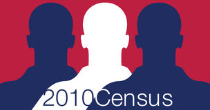 2010 Census. Illustration with silhouettes of people for the 2010 Census. Colors of the American flag Royalty Free Stock Images
