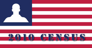 2010 Census American flag. Illustration American flag with silhouette of a man instead or the stars, for the 2010 Census Vector Illustration