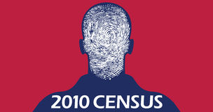 2010 Census fingerprint. Illustration of silhouette of man with a fingerprint instead of a face, for the 2010 Census Royalty Free Stock Photography