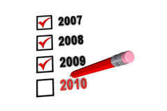 2010 Check List. Years check boxes with pencil red Royalty Free Stock Photo