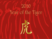2010 chinese new year card. With chinese character for Tiger and tiger skin patterns vector illustration
