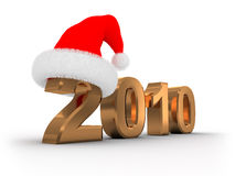 2010 Christmas. 3d illustration of text '2010' in red christmas hat stock illustration