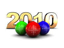 2010 christmas. 3d illustration of golden text '2010' and colorful christmas balls Royalty Free Stock Image