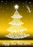 2010 Christmas Tree. Christmas Tree with white stars- gold Royalty Free Stock Images