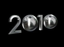 2010 chrome. 2010 year, chrome style 3D Stock Photo