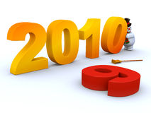2010 Continues 2009. Snowman changing 9 to 10 in the year text Royalty Free Stock Image