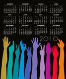 2010 de Kalender van handen Royalty-vrije Illustratie