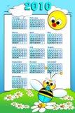 2010 de kalender van het Jonge geitje met babybij Stock Fotografie