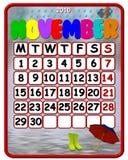 2010 de kalender van November Stock Foto