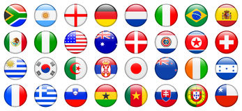2010 de Knopen van Internet van de Vlag van het Team van de Kop van de wereld Stock Afbeeldingen