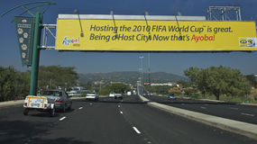 The 2010 FIFA World Cup sign on a highway Royalty Free Stock Photos