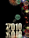 2010 fireworks. 2010 year with fireworks isolated on black background Royalty Free Illustration