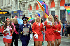 2010 glada manchester ståtar stolthet uk Arkivbild