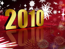 2010 gold. Year with fireworks and snow symbols Stock Illustration