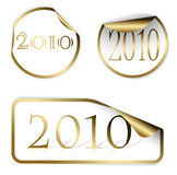 2010 on golden stickers. For a New Year Stock Images