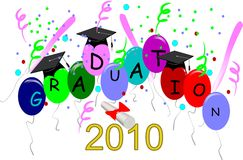 2010 grad. Graduation card for 2010 on white with diploma Royalty Free Stock Photo