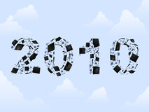 2010 graduation caps. 2010 written in numbers made of graduation caps vector illustration
