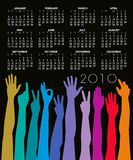 2010 Hands Calendar. An illustrated 2010 calendar with an abstract design of colorful hands Royalty Free Stock Images