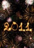 2010 hanno fatto delle scintille e dei fuochi d'artificio verticali Immagine Stock Libera da Diritti