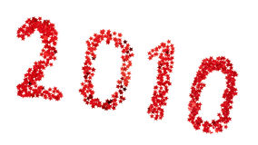 2010 Happy New Year. Red stars on white stock illustration