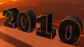 2010 Horizontal. Digital rendering of the new year Stock Photos
