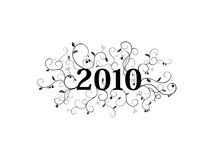 2010 isolated floral ornament. Stylish floral ornament with 2010 text in the center Stock Photography