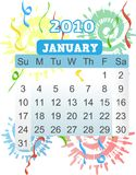 2010 January Calendar Fireworks and flairs. January calender 2010 Sunday starting monthly bright vector illustration Stock Photography