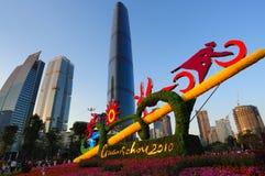 2010 Jeux Asiatiques - plaza de ville de fleur de Guangzhou Photos stock