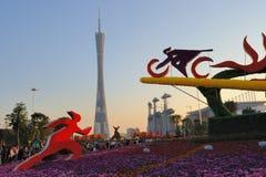 2010 Jeux Asiatiques - plaza de ville de fleur de Guangzhou Image libre de droits
