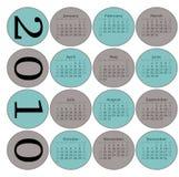 2010 kalendarzowych okregów Zdjęcia Stock
