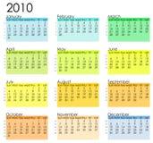 2010 kalendarzowych prostych Fotografia Stock