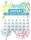 2010 kalenderfyrverkeriväderkorn januari stock illustrationer