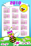 2010 Kid calendar with baby bee. 2010 Kid calendar landascape with a baby girl bee and daisies - Cartoon style Royalty Free Stock Images