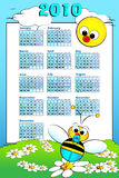 2010 Kid calendar with baby bee. 2010 Kid calendar landascape with a baby boy bee and daisies - Cartoon style Stock Photography