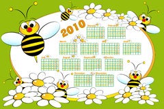 2010 Kid calendar with beeS. And daisies - Cartoon style Stock Photography