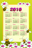 2010 Kid calendar with bees. And daisies - Cartoon style Stock Images