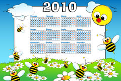 2010 Kid calendar with beeS - Italian. 2010 Kid calendar with bees and daisies, cartoon style - Italian Stock Image