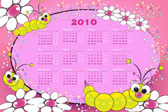 2010 Kid calendar with grubs. And flowers vector illustration