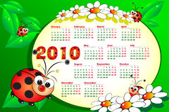 2010 Kid calendar with ladybug. S, leaves and daisies - Cartoon style Stock Illustration