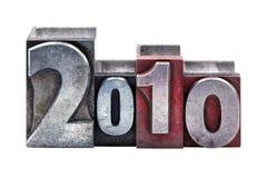 2010 in letterpress stock image