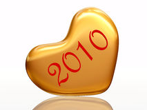 2010 in love. 3d golden heart with numerical 2010 inside Royalty Free Stock Images