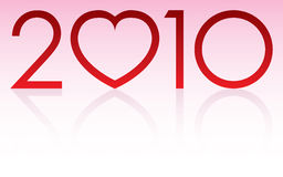 2010 Love Year. Logo with reflection Stock Photos