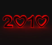 2010 Love Year. Year 2010, Zeros In The Shape Of Heart With Black Background vector illustration