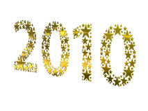 2010 made from golden stars. On white background Stock Photos