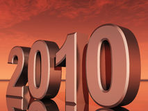 2010 and martian sky. Inscription 2010 on a background of the martian sky, with reflection on a surface Stock Image