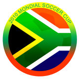 2010 mondial soccer cup illustration. Whit the flag of south africa over a soccer ball Royalty Free Stock Photography
