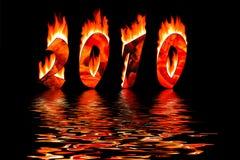 2010 números del Año Nuevo en la inundación del fuego en agua Imagenes de archivo